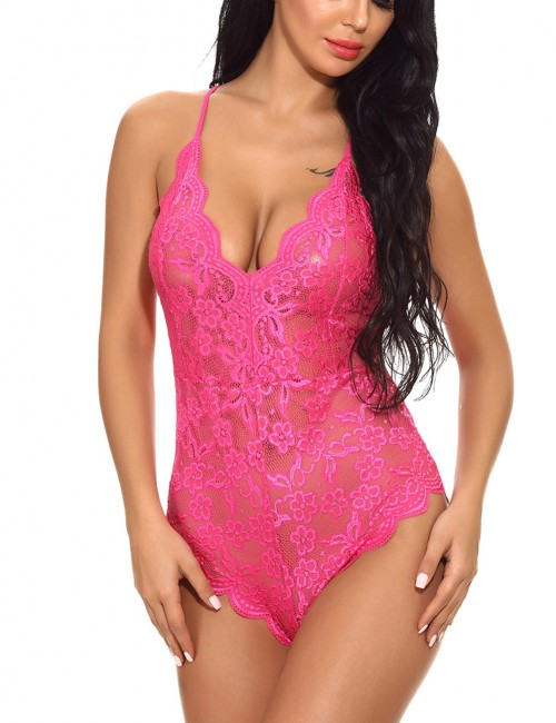 Glam Rose Red Cami Aiguillette Bodysuit Lingerie Flower Lace For Upscale