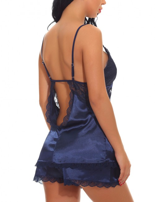 Expensive Blue Lace Patchwork Cut Out Sleepwear Lingerie Inexpensive Online