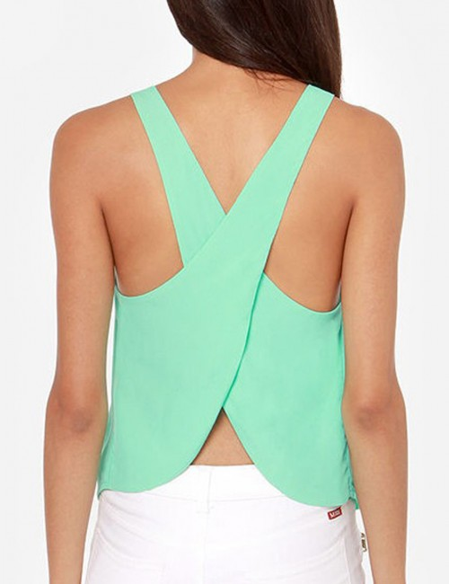 Appropriate Light Green Tank Top Chiffon Round Collar Best Materials