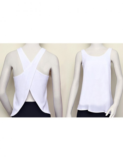 Adorable White Sleeveless Round Neck Tops Crisscross Comfort Fashion