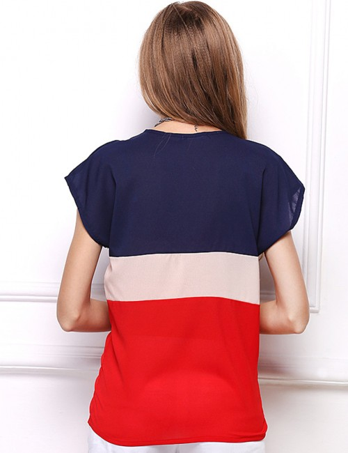 Fetching Red Big Size Stitching T-Shirt Bat Sleeves Chic Online