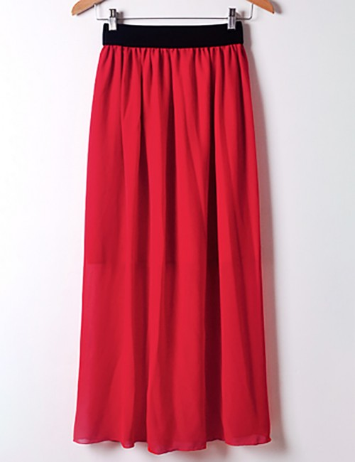 Glitzy Red Chiffon Elastic Waist Maxi Skirt Pleated Ideal Choice