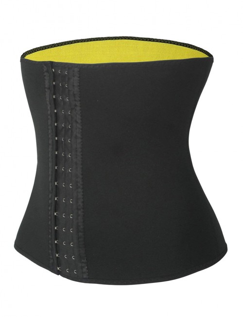 Impeccable Black Neoprene Waist Shaper Hooks Plus Size Curve-Creating