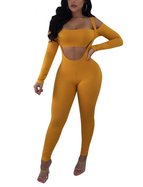 Refresh Off Shoulder Yellow Long Rompers With Crop Tops Seamless