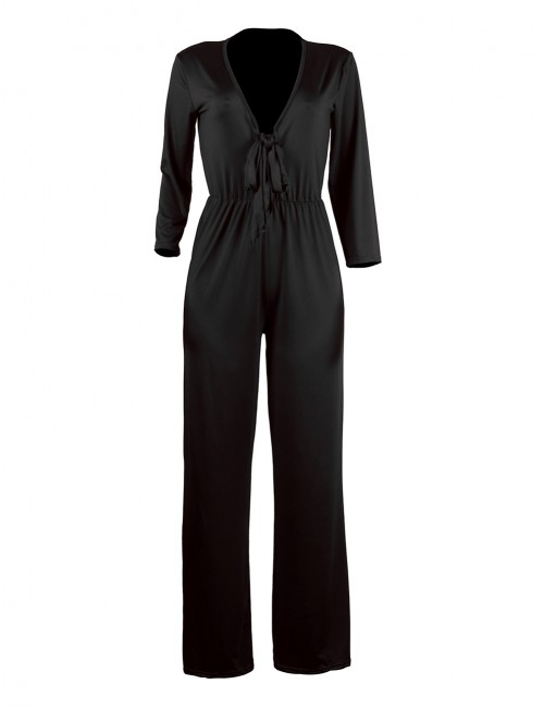 Liberty Plunging V Neck Black Tie Front Jumpsuit Breathable