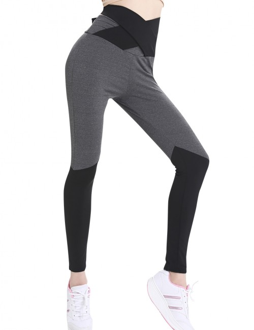 Powerful Grey Color Block Kinetic Legging Running Apparel