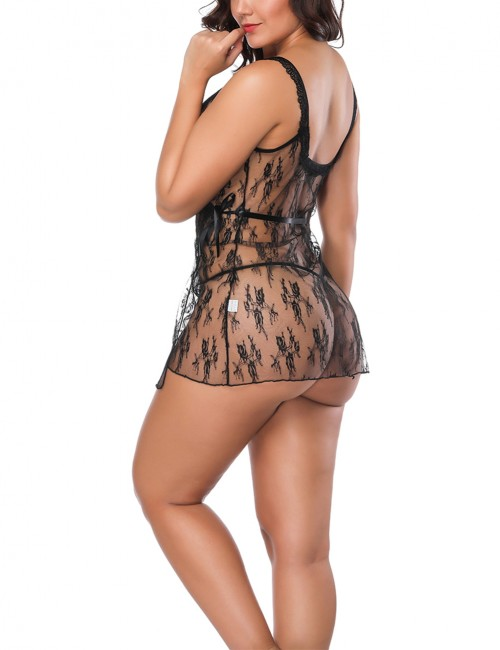 Flower Lace Black Low Back Babydoll Satin Waist Tie
