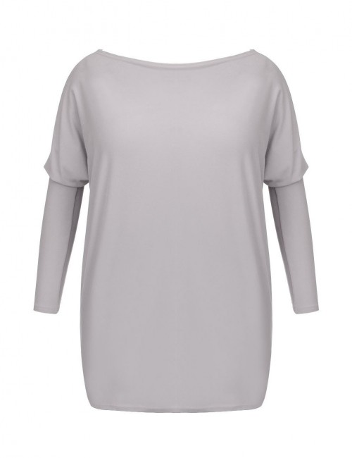 Form-Fitting Large Size Grey Fluff Blouse Long Sleeves