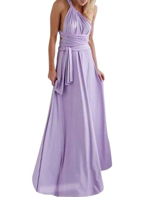 Classical Purple Multi-Way Straps Gown Dress Drapery Hem