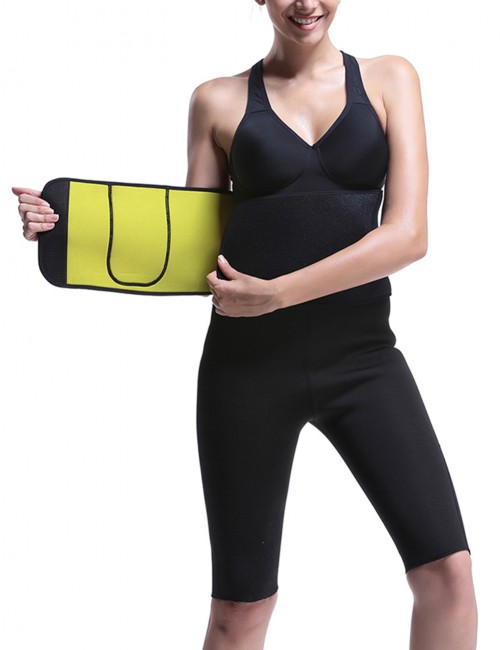 Black Firm Control Workout Neoprene Shaper Belt One Pocket Stretch
