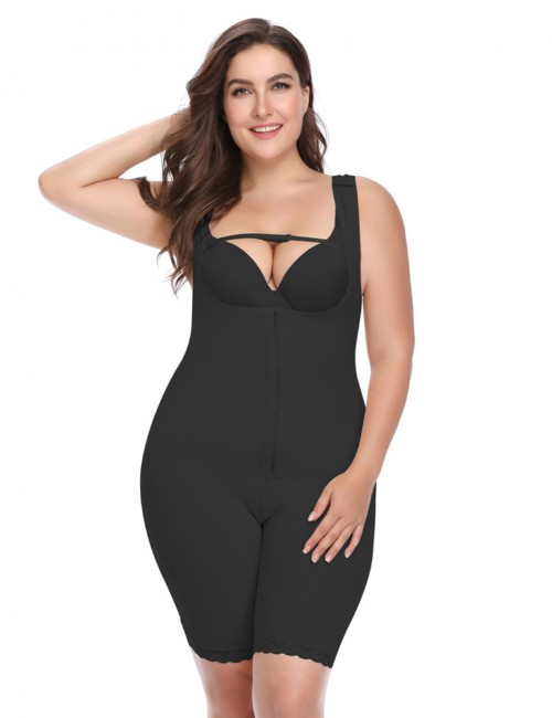 Glam Front Hooks Closure Black Body Shaper Lace Hem High Power