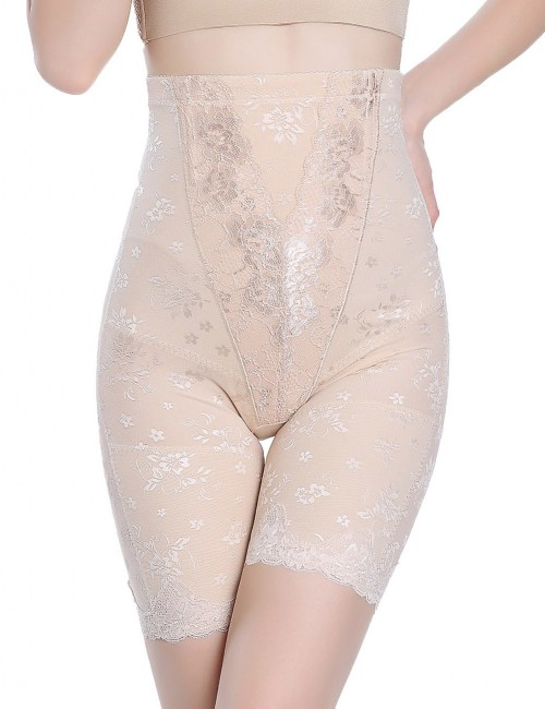 Post Surgery Nude Large Size Lace Flower Butt Lifter Panty Thigh High Medium Control