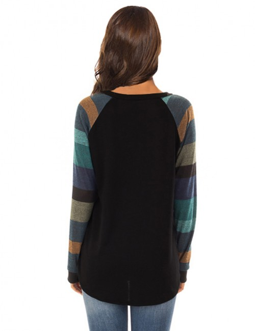 Affordable Black Full Sleeved Striped Sweatshirt Stitching For Women