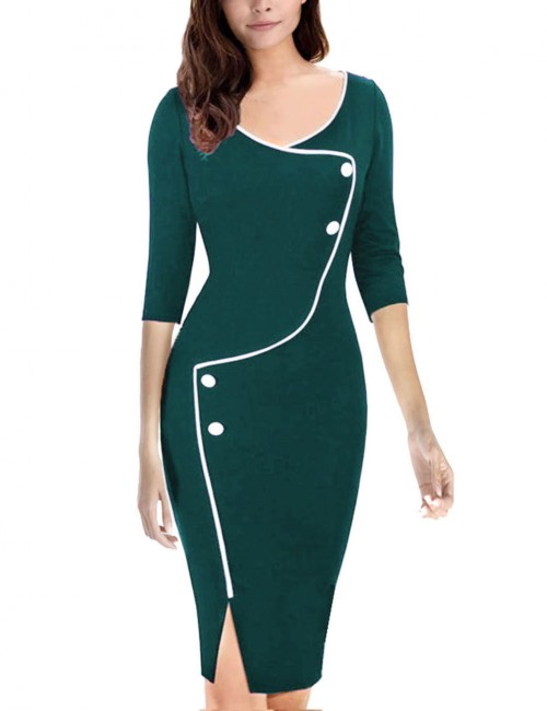 Dainty Green Large Size Midi Bodycon Dresses Slit Hemline For Upscale