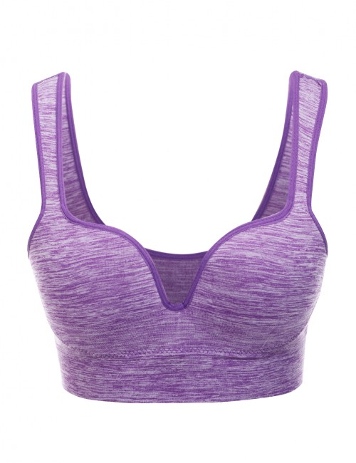 Basic Boutique Purple Wide Elastic Strap Activewear Bra For Playing
