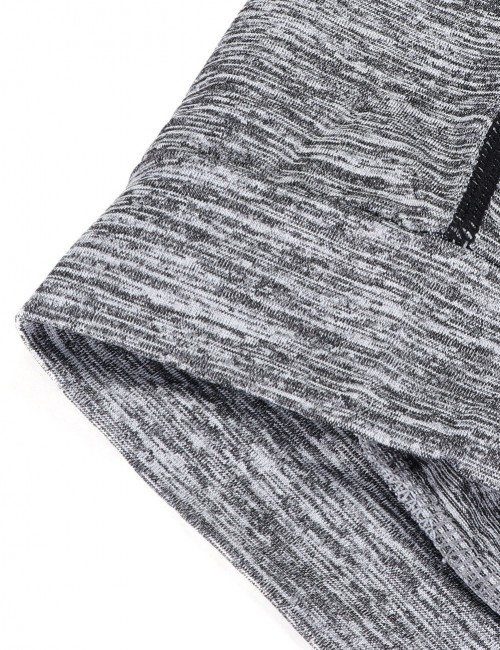 Mystic Grey Men's Reflective Strip Sports Top Zipper Large Size Outdoor