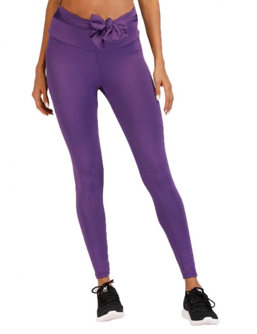 Delicate Purple Wide Waistband Bow Yoga Leggings Ankle Length Breath
