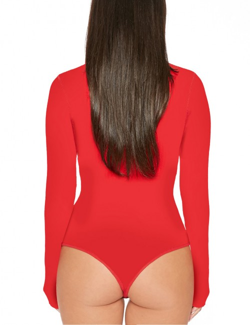 Brilliant Red Invisible Button Long Sleeves Bodysuit Workout