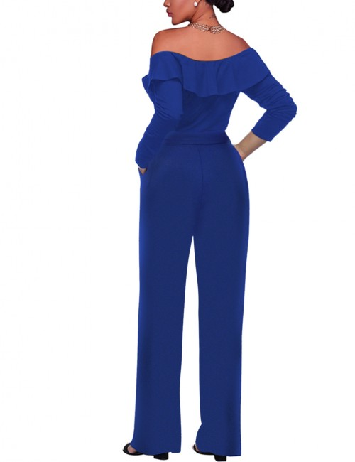 Brilliant Sapphire Blue 3/4 Sleeves Ruffled Romper Ankle-Length Female