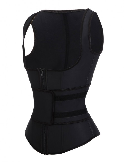 Sculpting Plus Size Black 9 Steel Bones Latex Vest Shaper For Beauty