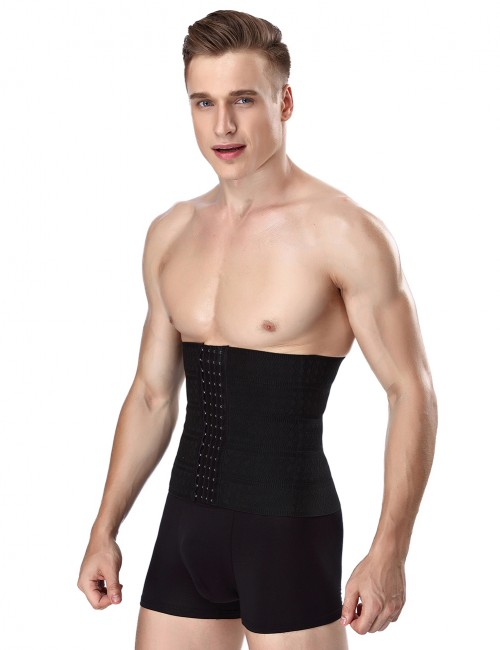 Close Fitting Black Big Size 4 Hooks And Eyes Mens Waist Trainer Elastic