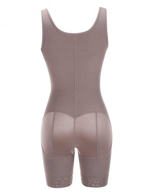 Brown Queen Size Crotchless Bodysuit Zipper Hooks Midsection Compression