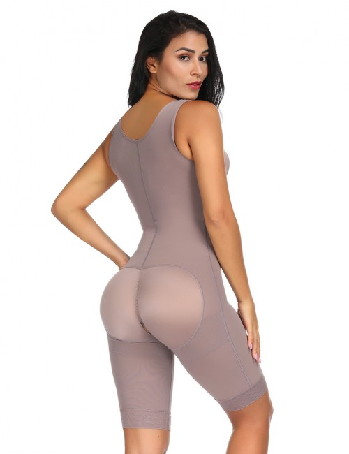 Figure Shaper Brown Queen Size Plain Crotchless Bodysuit Unpadded High Impact