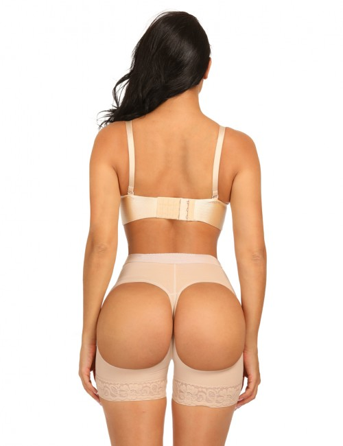Tummy Control Nude Wide Elastic Band Butt Enhancer Panty Crotchless Slim