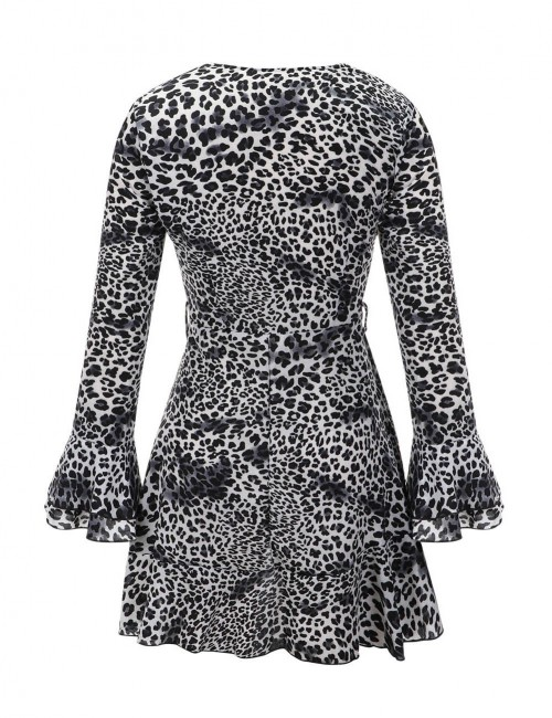 Appealing White Pagoda Sleeves Mini Dress Leopard Pattern Natural Women