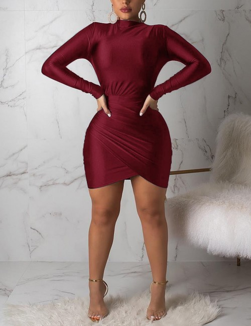 Edgy Wine Red Bodycon Dress Full Sleeved Ruched Decor Modern Fashion