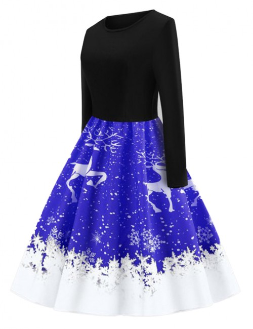 Good-Looking Sapphire Blue Snowflake Pattern Skater Dresses O-Neck Women