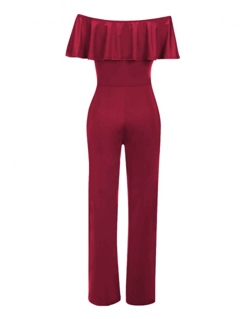 Liberty Wine Red Elastic Shoulder Wrapped Jumpsuits Wide Legs Breathable