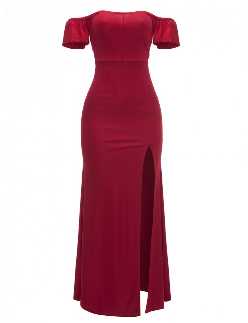 Dainty Red Split Floor Length Evening Dress Off Shoulder Holiday