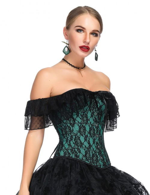 Sophisticated Green Floral Lace Flounce Bustier Off Shoulder Ultimate Slimmer
