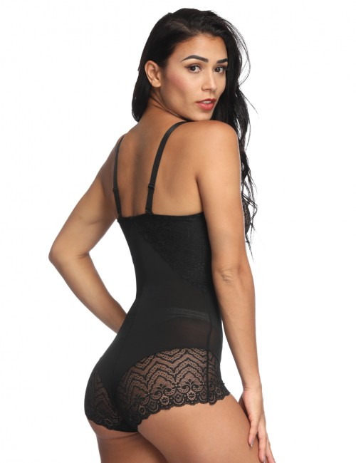 Ultra Black Lace Patchwork Bodysuit Shapewear Hooks Crotch Enhancer