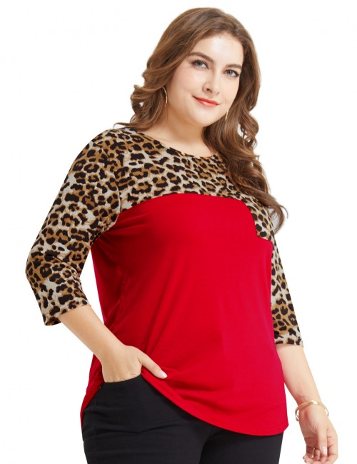 Funny Red Plus Size Patchwork Top Leopard Print Fashion