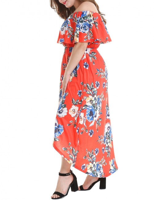 Contouring Red Slit Flower Print Maxi Dress Plus Size Sexy Fashion