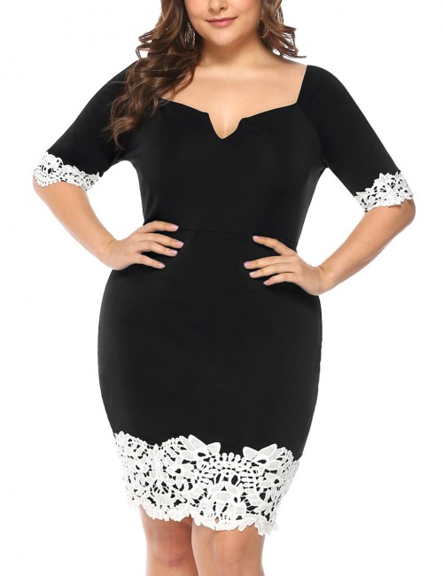 Loose Fit Black Large Size Bodycon Dresses Floral Lace Outdoor