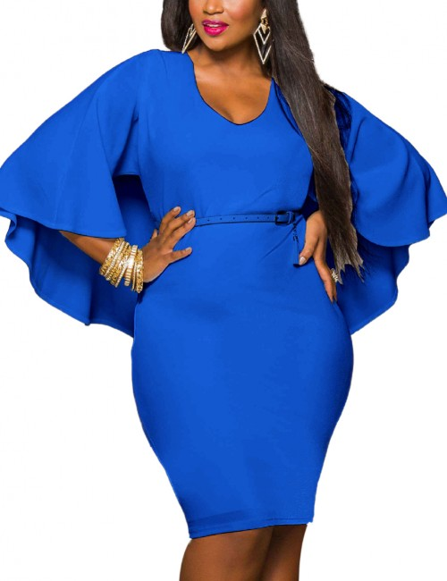 Glamorous Blue Cut Out Large Size Dresses Cloak Sleeves High Elasticity