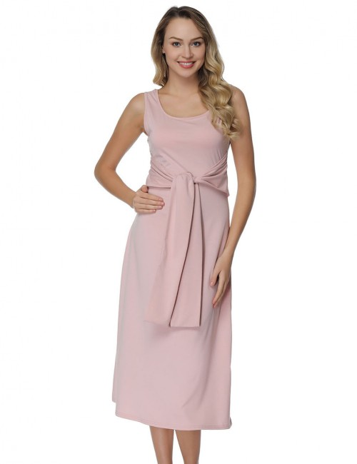 Lightweight Pink Waist Sash Tea Length Dresses Sleeveless