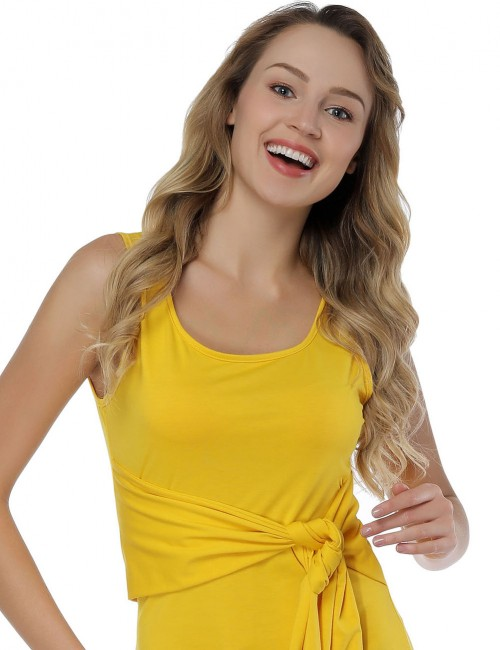 Excellent Yellow Sleeveless Midi Dresses Waist Tie