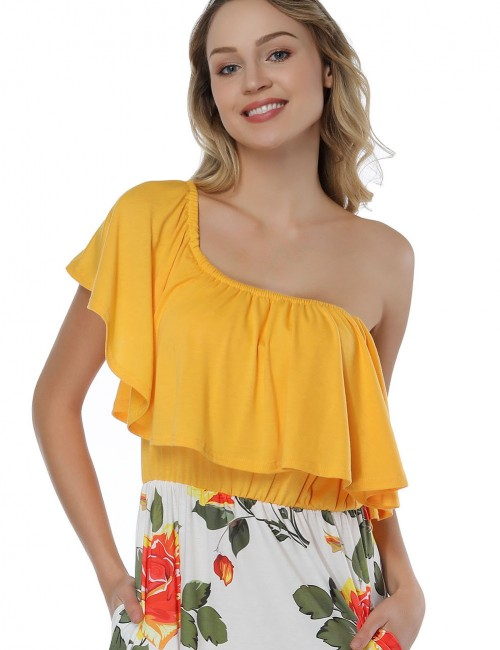 Casually Yellow Flounce Bandeau Neck Dresses Side Split