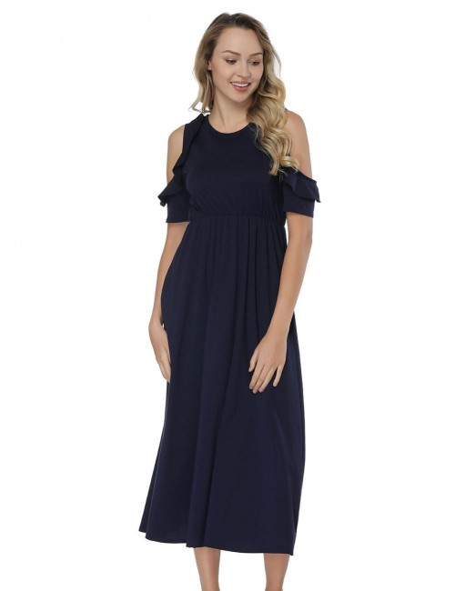 Elegant Cold Shoulder Midi Navy Blue Dresses Flounce