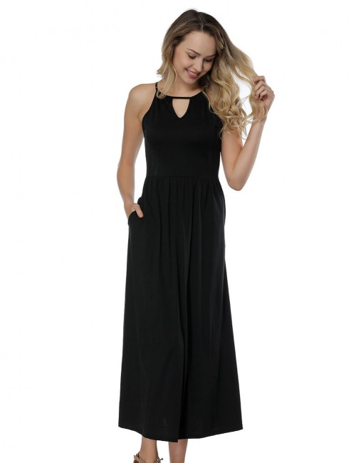 Particularly Black Cut Out Dress Maxi Length Sleeveless