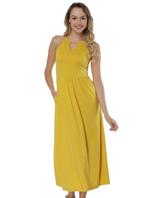 Casually Yellow Drapery Hem Midi Dresses No Sleeve