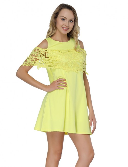 Elegant Yellow Mini A-Line Dresses Cold Shoulder