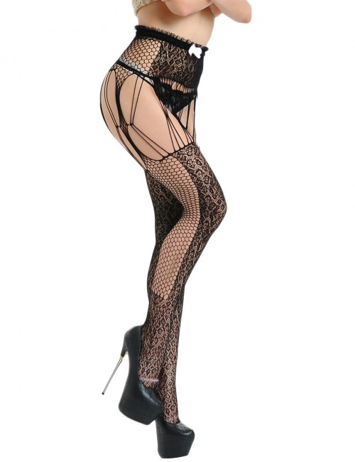 Sexy Black Floral Lace Waist Garter Fishnet Stocking Trendy Style