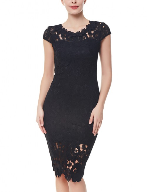 Fitted Black Plus Lace Midi Tight Dress Patchwork Back Feminine