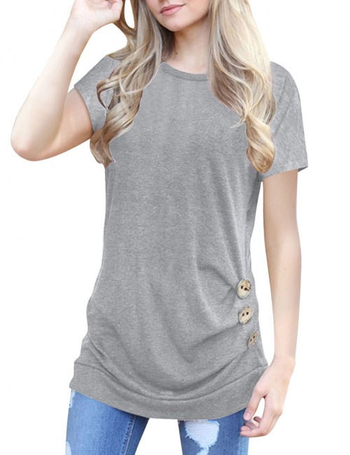 Light Grey O Neckline Shirts Side Button Full Back Weekend Fashion