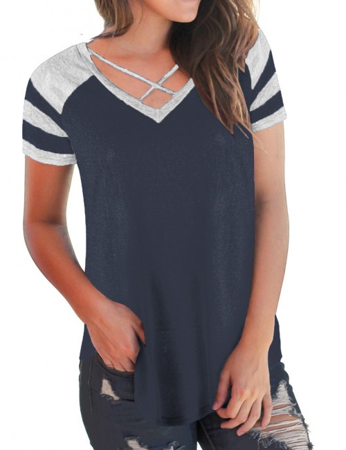 Glam Navy Blue Contrast Color Stitching Blouses Crossover V Neck